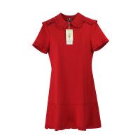 夏新唐嫣明星同款红色短袖连衣裙2018小礼服荷叶边修身时尚a字裙 正红色
