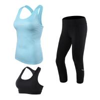 瑜伽三件套健身套装女运动背心带胸垫跳操晨跑户外跑步套装