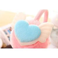 耳套仿兔毛耳罩儿童包捂护耳保暖男女冬可爱骑车装备自行车摩托车 粉色 蓝耳朵 送口罩