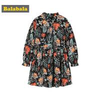巴拉巴拉童�b女童�B衣裙小童����裙子�L袖秋�b2018新款�和�碎花裙