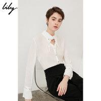 【25折到手价:149.75元】 Lily春夏新款女装白色铆钉衬衫系带造型领冰丝衬衫118210C4526