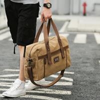 大容量帆布旅行包手提包男女休闲包短途行李包单肩旅游包袋健身包 中