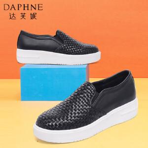 Daphne/达芙妮春季乐福鞋 编织PU女单鞋