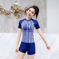 游泳衣女士保守泡温泉显瘦遮肚性感韩国平角运动短袖分体学生泳装