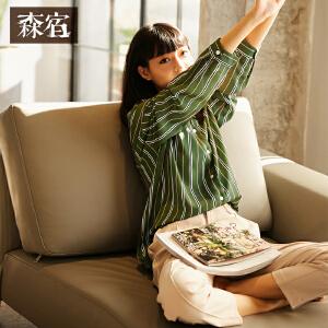 【会员节! 每满100减50】森宿春装2018新款文艺V领条纹宽松衬衫女