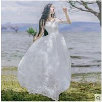 海边度假长裙白色蕾丝连衣裙网纱刺绣时尚长裙女沙滩裙女大摆裙露背沙滩裙支持礼品卡支付