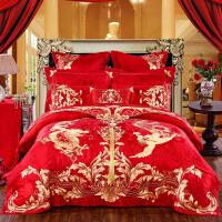 婚庆四件套大红贡缎提花刺绣结婚床品新婚六八十件套床上用品