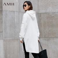 【年货节 全场2件7折】Amii[极简主义]Oversized厚加绒连帽飘带连衣裙2017冬新卫衣裙