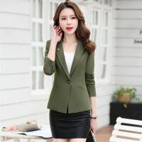 西装修身显瘦气质唯美韩版纯色优雅可爱长袖短款年春季