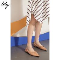 【此商品每满200减50,到手价249元】 Lily2019秋新款简约尖头蝴蝶结芭蕾舞鞋平底单鞋女鞋119310JZ4