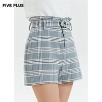 FIVE PLUS新款女冬装格纹阔腿短裤女高腰配腰带呢料裤子宽松花边
