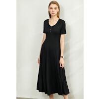 【券后预估价:166元】Amii极简气质连衣裙2020夏装新款修身A字裙短袖莫代尔女纯色长裙