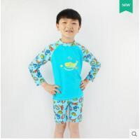 时尚儿童分体泳衣 长袖中裤防晒游泳衣 沙滩泳装男童 可礼品卡支付