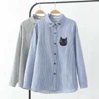 大码女装秋装韩版胖MM200斤显瘦棉质小猫刺绣条纹衬衫