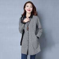 韩版百搭衬衫长袖格子口袋POLO领单排扣2017年春季 黑白格