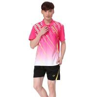 夏季新款 情侣羽毛球/乒乓球/网球比赛训练短袖套装 男女运动休闲服/球衣