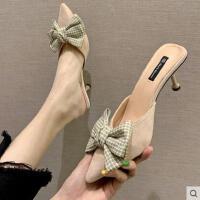 韩版半拖女鞋高跟鞋拖鞋女夏外穿蝴蝶结懒人穆勒鞋子