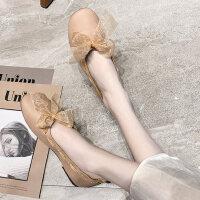 韩版女士文艺平底单鞋女时尚百搭蝴蝶结豆豆鞋软底奶奶鞋