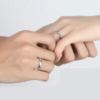 可调节情侣戒指一对刻字活口日韩男女创意开口结婚对戒925银饰品 一对价【开口版】大小可调节
