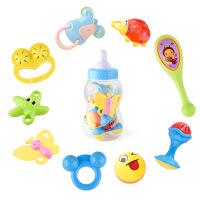 9件套婴儿益智奶瓶摇铃 0-3岁宝宝早教牙胶手摇铃 母婴玩具