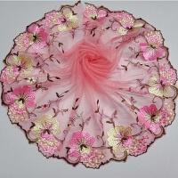 布料田园风粉色刺绣蕾丝花边辅料 服装布艺手工diy装饰材料宽22cm 粉红色 长90cm