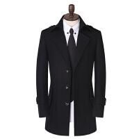 韩版春秋冬季新款中青年修身羊毛呢子单排扣翻领保暖男装风衣大衣