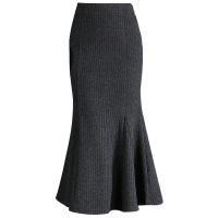 半身裙秋冬2018新款针织鱼尾裙毛呢毛线中长款港味包臀修身长裙女