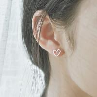 爱心桃心形耳钉女S925银耳环气质韩国个性潮人学生少女耳坠耳饰 一对价