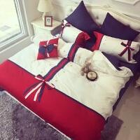 家纺全棉韩版蝴蝶结四件套纯色红色韩式公主拼接长绒棉床上用品套件