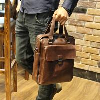 男包单肩包男斜挎包公文包休闲男士背包挎包皮包商务疯马皮手提包 咖啡色