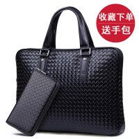 x男包商务男士手提包牛皮包横款休闲单肩斜挎电脑包手拎包包 黑色(现货)