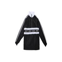 复古串标外套 运动夹克男女街头嘻哈 冲锋衣 黑白色