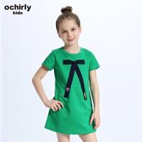 ochirly kids欧时力童装女童2018新款贴布蝴蝶结连衣裙5G01087800