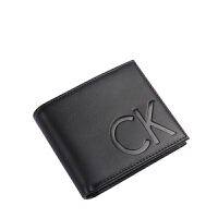CK钱包短款男正品CalvinKlein光面真皮大logo竖款钱夹47112008