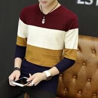 男士毛衣秋冬季新款韩版个性潮流打底针织衫男v领线衣服外套 酒红 M