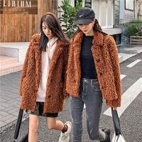 七格格仿皮草外套女2019新款冬季韩版宽松显瘦时尚小个子毛绒大衣