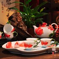 珐琅瓷年年有余陶瓷功夫茶具套装创意整套茶壶茶盘婚庆礼物居家