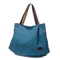 女士帆布包单肩包斜挎包复古民族风 大容量手提包休闲大包女包包fdg 湖蓝色—帆布