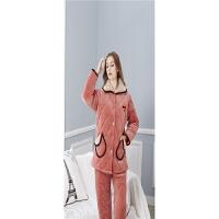 睡衣 冬季珊瑚绒夹棉女式长袖棉袄套装加大码加绒加厚家居服