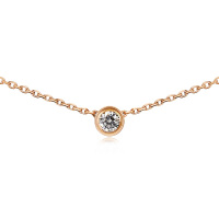 钛钢镀18K玫瑰金彩金单钻项链女短款锁骨链简约颈链韩版饰品吊坠