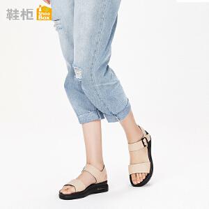 达芙妮集团 鞋柜18夏PINKII休闲魔术贴运动凉鞋