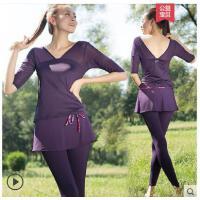 假两件气质拼接瑜伽服套装女紧身裤裙健身服大码跳操服带胸垫速干