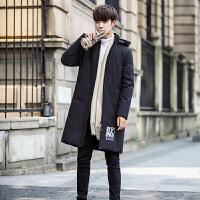 冬季男士羽绒服中长款修身加厚潮流羽绒服男大衣 雪州豹7988黑色 0/M