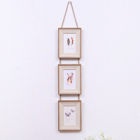 欧式三联相框 复古麻绳挂式组合照片墙 5寸6寸7寸装饰相框 木纹边三联-竖款 6寸