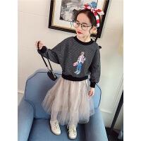 女童2018春季新款卫衣小女孩黑白条纹蝙蝠袖休闲上衣潮
