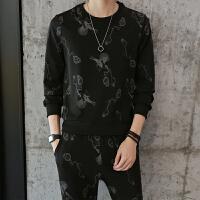 秋季男士休闲个性印花套头卫衣套装新款青年外套潮男裤子一套 TZ130图片色