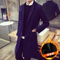 冬季加绒加厚风衣男中长款韩版修身呢子大衣男大码青年学生呢外套