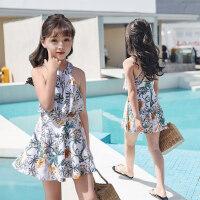 儿童泳衣女孩新款连体裙式带袖保守中大童女童少女韩版宝宝泳装
