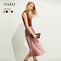 【到手价:102元】Amii极简设计感宽松黑色半身裙女2019秋新款松紧腰中长款a字裙子