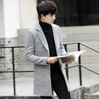 妮子大衣男中长款风衣青年修身商务休闲羊毛呢子外套尼子大衣冬装